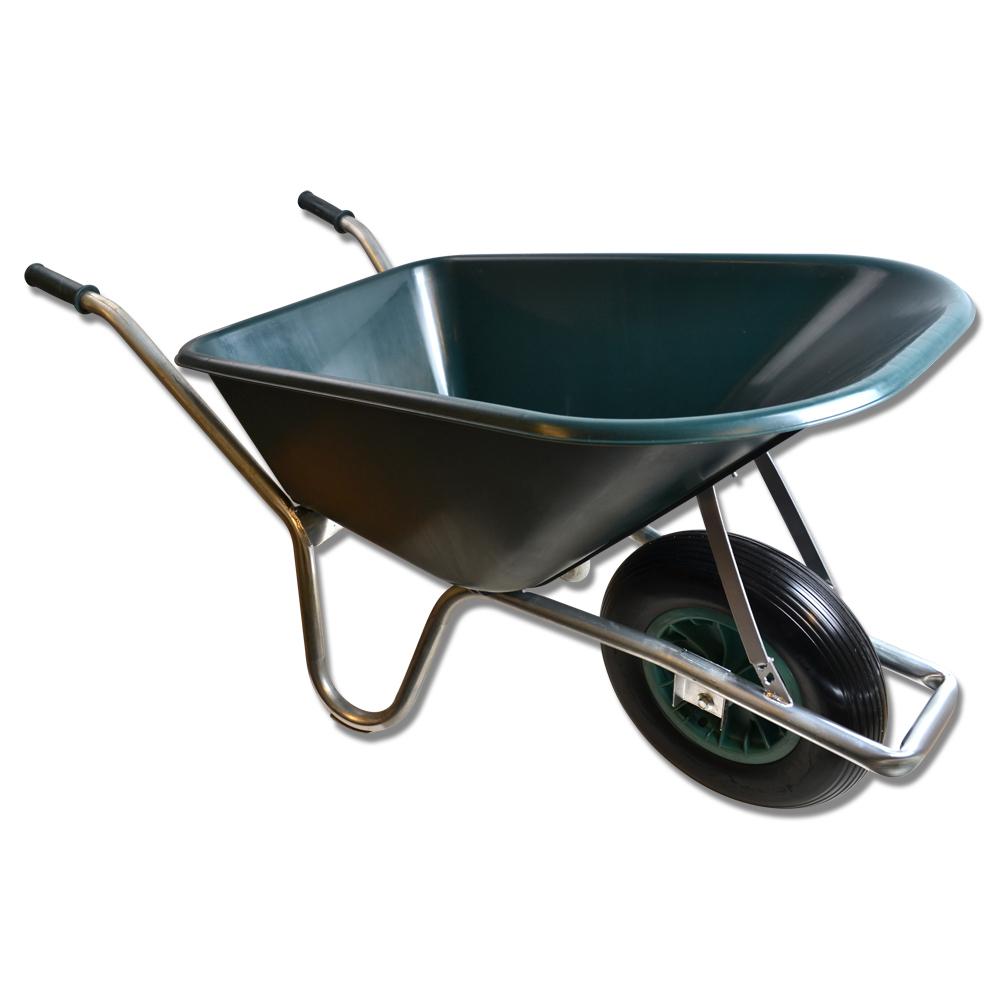 Skottkärra plast 100 liter punkteringsfritt hjul ljusgrön : skottkärra : Inredning